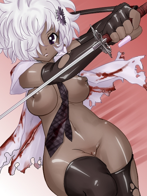cell blood red Tan anime girl with white hair